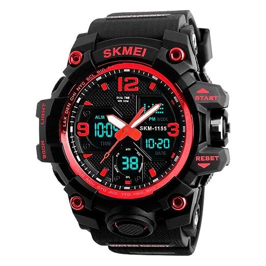 SKMEI Reloj Digital dual time Deportivo Militar Para hombre Resistente al  agua. Cronómetro 6028b362def5