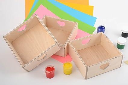 Cajas de madera inacabadas con corazones de contrachapado artesanales originales