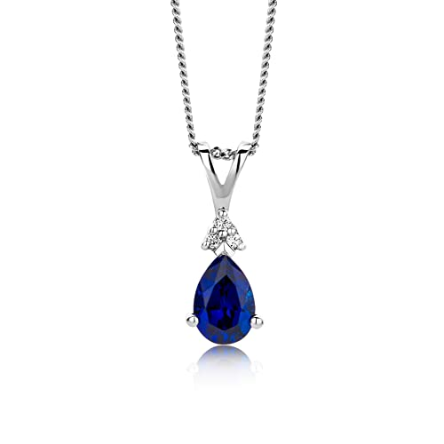 Miore - Collier Femme - Or Blanc 9 Cts 375/1000 1.31 Gr - Saphir