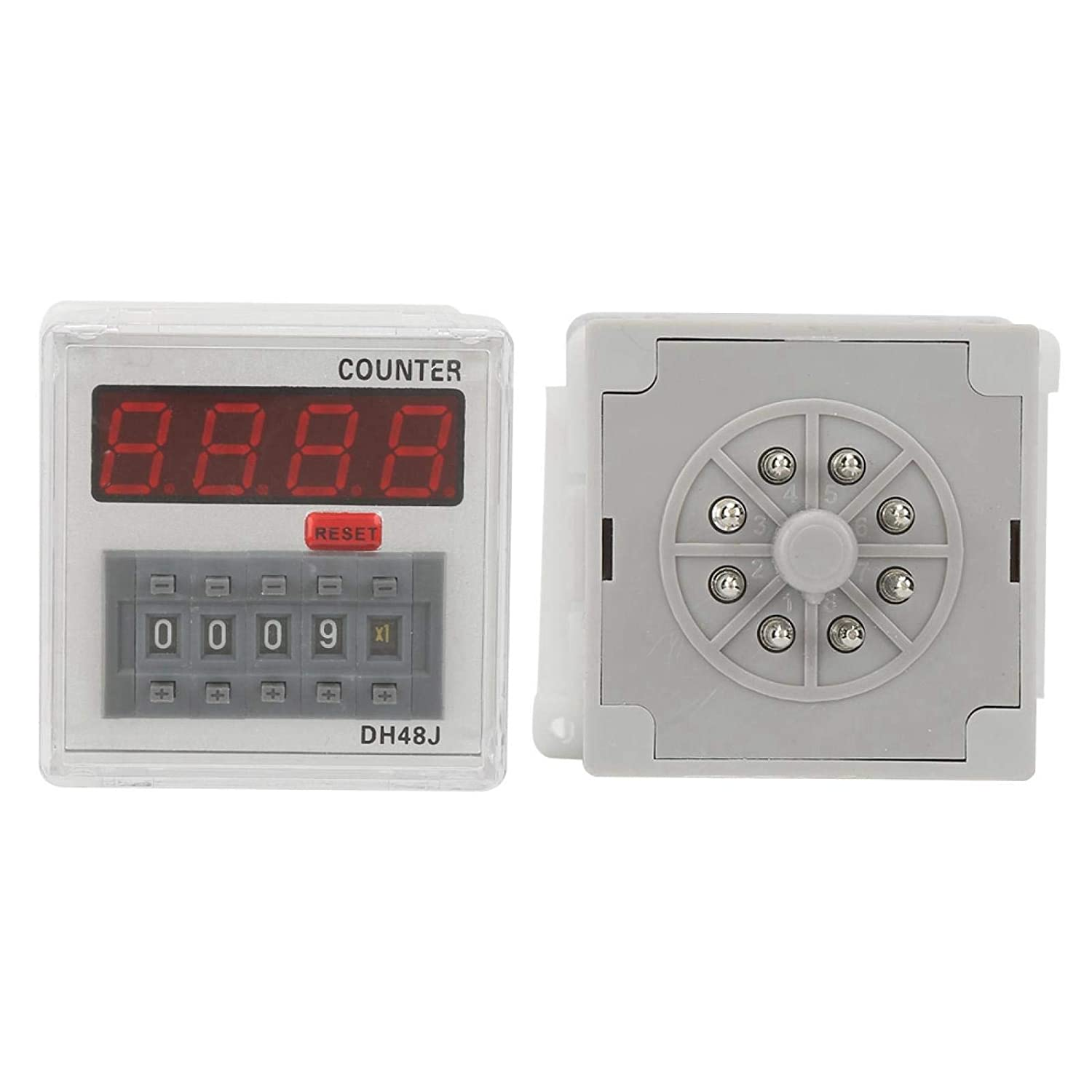 8-Pin 220VAC ABS Outer Case LED Display Digital Counter Relay 1-999900 for Communication Automatic Control