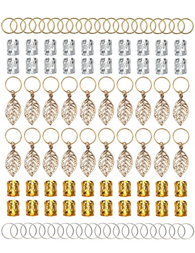 Fani 100pcs Gold &Silver Hair Rings Aluminum Dreadlocks Beads Gold Leaves Pendant Decorations Metal Cuffs Braid Jewelry for Hair Set Hair Clip Hair Accessories -