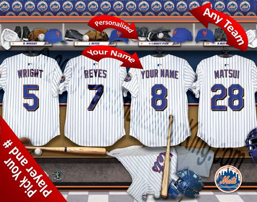 New York Mets Team Locker Room Clubhouse Personlized Officially Licensed MLB Photo Print ()