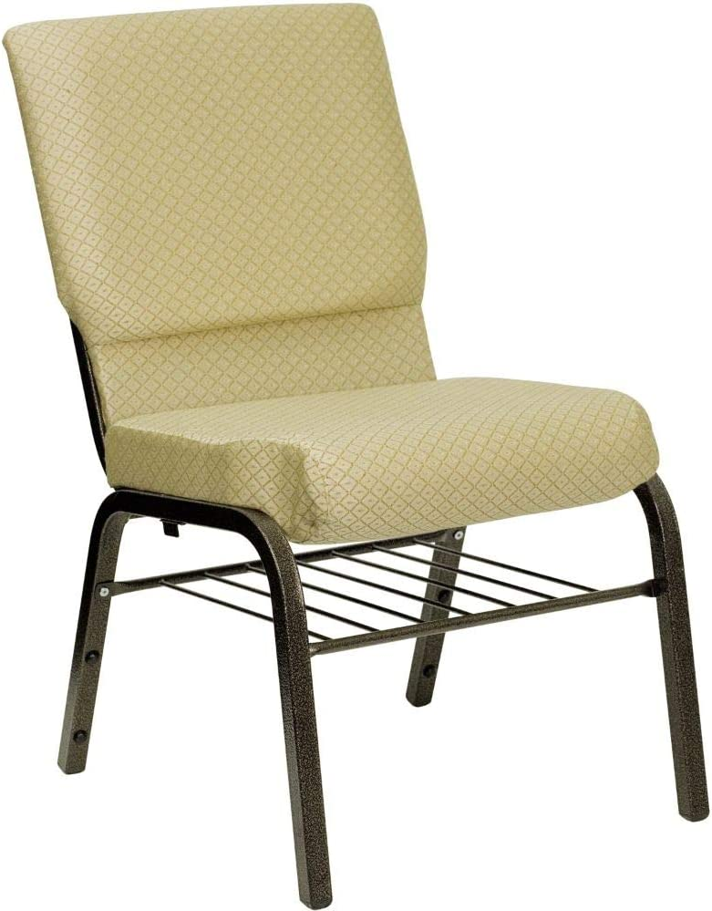Flash Furniture HERCULES Series 18.5''W Church Chair in Beige Patterned Fabric with Book Rack - Gold Vein Frame