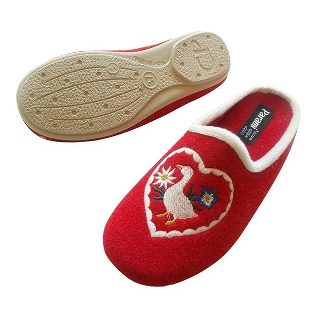 Parami Hausschuh Pantoffel Rot Herz Mit Gans 6155 - Eu 36 - 42 (42) 741Go8CT4