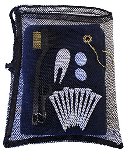 Golf Utility Kit by JP Lann (Includes: Towel, Tees, Ball Markers, Divot Tool & Utility Scrub Brush) (Towel Ball Tee)