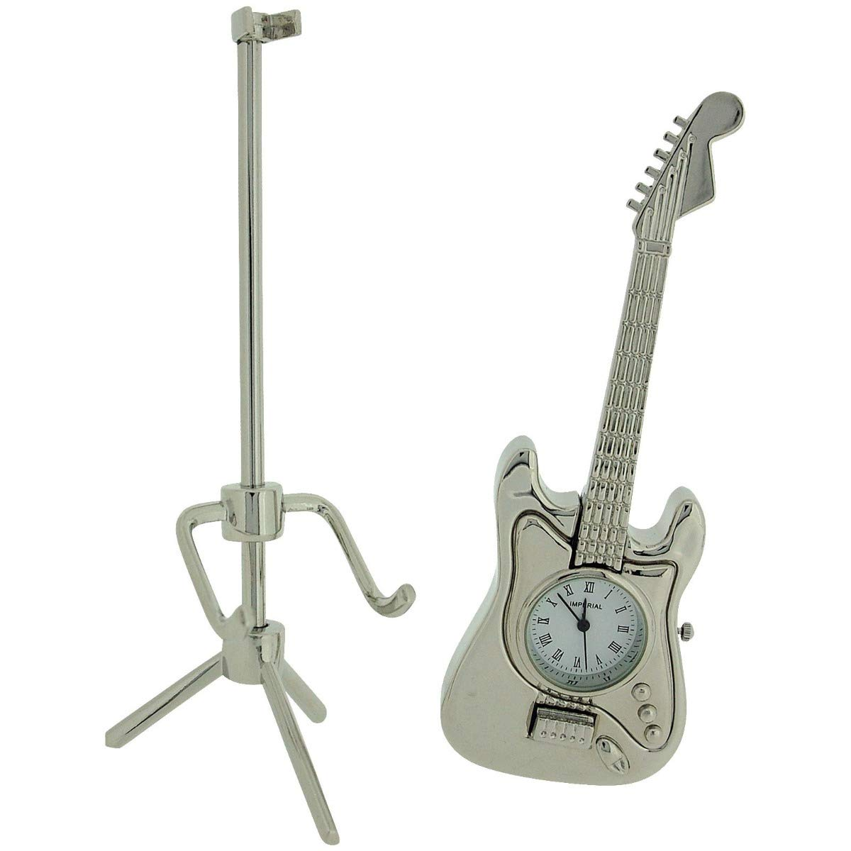 Miniature Silver Tone Metal Guitar Plus Stand Novelty Collectors Clock IMP85S
