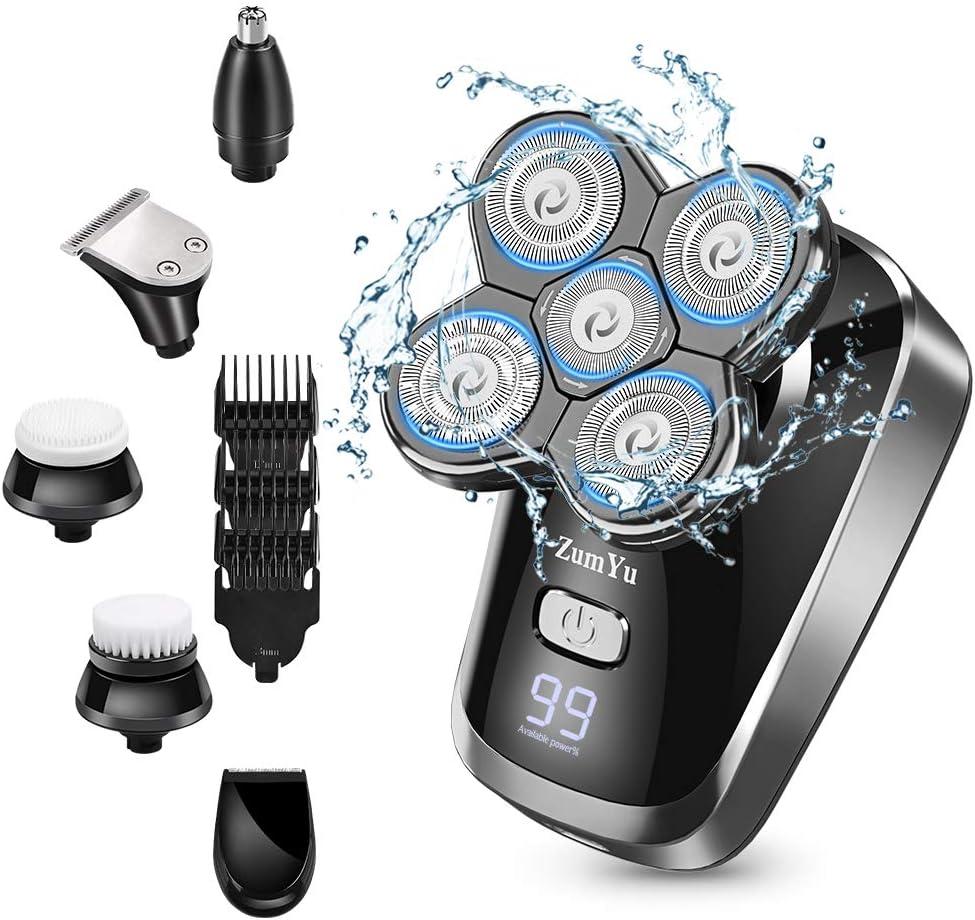Afeitadora Electrica Hombre, 6 en 1 Maquina De Afeitar Calva Recortadora Barba Recortador de nariz, Impermeable sin Cable Pantalla LED USB Recargable