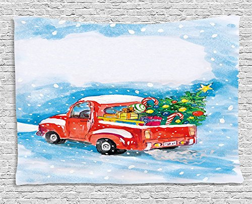 Supersoft Fleece Throw Blanket Christmas Vintage Red Truck in Snowy Winter Scene with Xmas Tree and Gifts Candy Cane Kids Blue White (Katy Perry Candy)