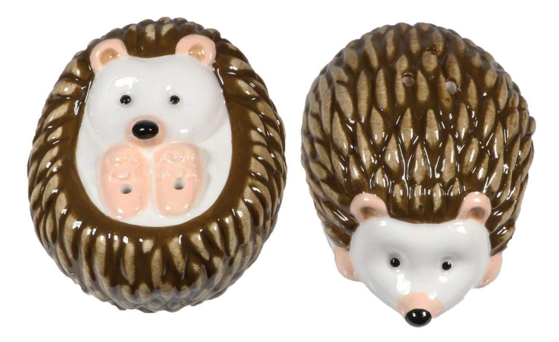Brown Hedgehogs Salt and Pepper Shaker Set Ceramic