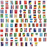 Set of 100 Country Flags - International Flags of the World, Party Decorations, 100 Different Countries, Assorted Colors, 80 Feet Length, Each Flag 5.2 x 9.2 Inches