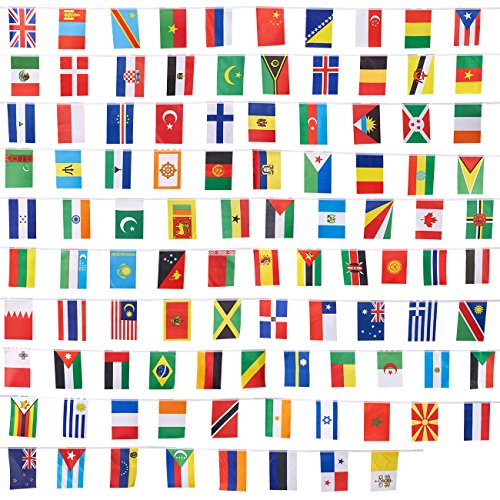 Olympic Themed Classroom - Juvale 100-Piece International Flags - 80-Feet