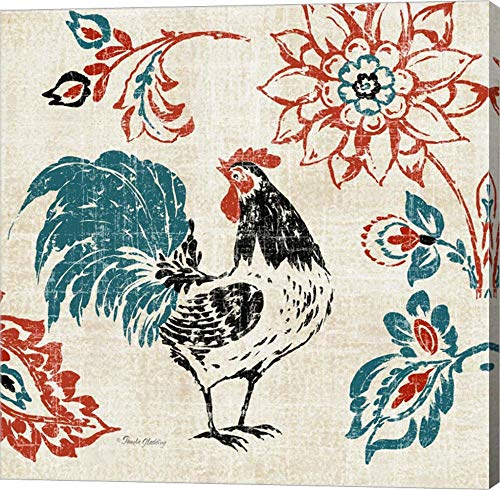 Toile Rooster I by Pamela Gladding Canvas Art Wall Picture, Gallery Wrap, 39 x 39 inches