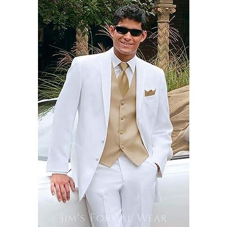 GFRBJK Abrigo Pantalón Diseños Blanco Formal de Los Hombres de ...