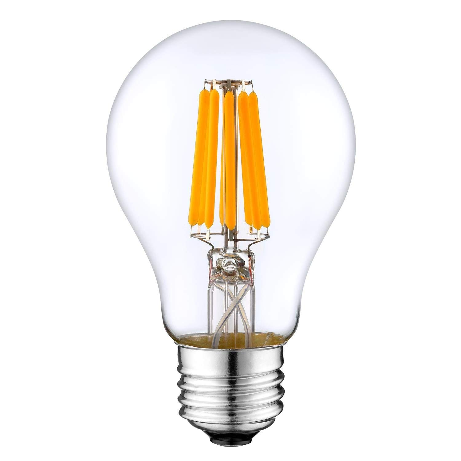 Warm White,650lm Dimmable LED Edison Light Bulb 8 Filament Vintage E26 Base 6.5Watt 4 pack CRI80cri,Clear Glass 60W Equivalent Blue star A19 UL /& Energy Star listed A60 for Home Outdoor: 2700K