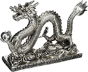 "Oriental Furniture 12"" Chinese Dragon Statue"