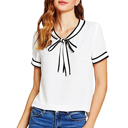 24f168d538a64 Inverlee Women Fashion Casual Short Sleeve Bowknot Bandage Striped Tops T-Shirt  Blouse (S