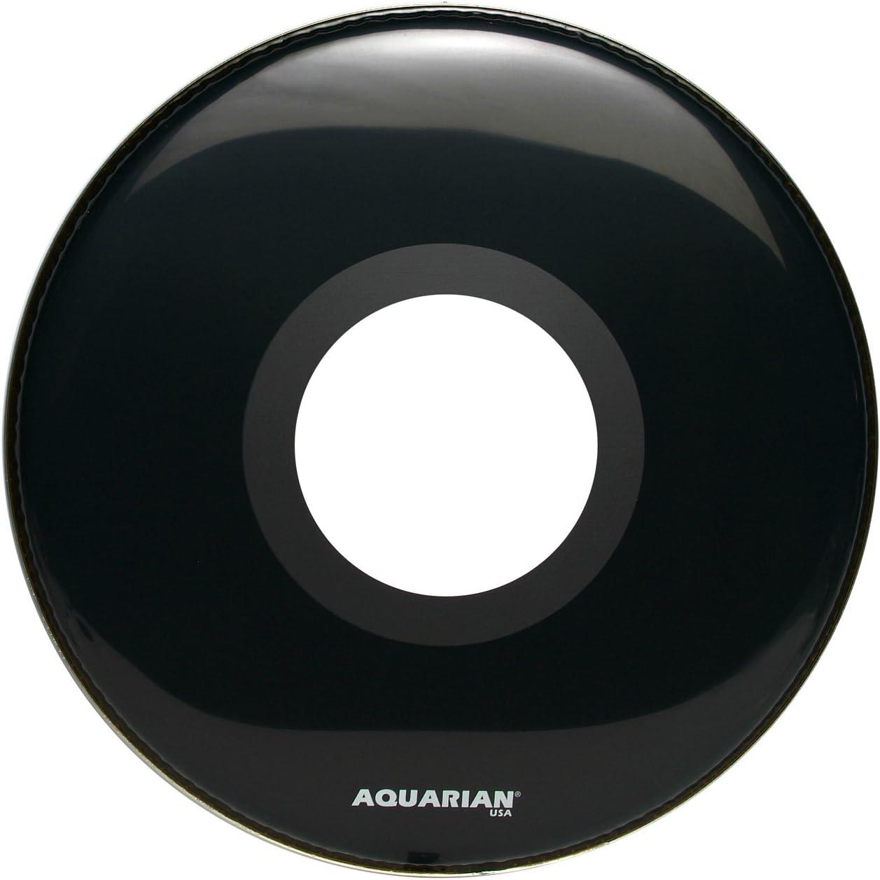 gloss black Aquarian Drumheads PTCC24BK Center Ported Bass 24-inch Bass Drum Head