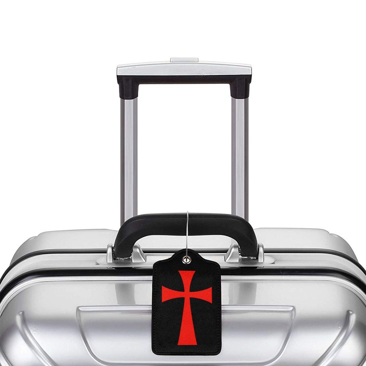 Cross Knights Templar Leather Luggage Tag Travel ID Label For Baggage Suitcase