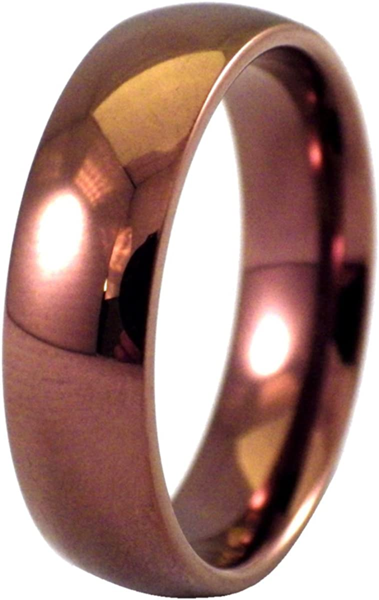 Fanntasy Forge Jewelry Dark Copper Ring Mens Womens Coffee Color Stainless Steel Wedding Band 6mm Sizes 3-16