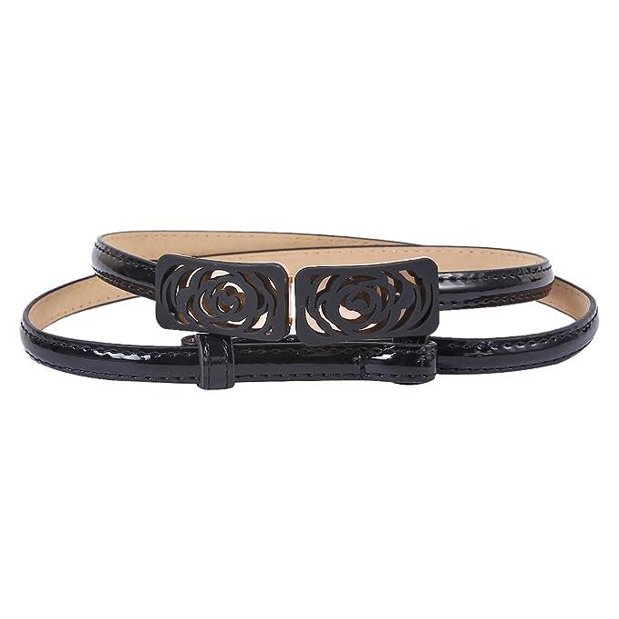 Diamante Stylish Ladies/' Girls Women Thin Skinny Shiny Belt in Black