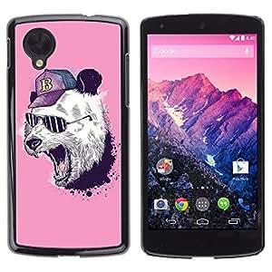 CASETOPIA / Panda Bear Swag / LG Google Nexus 5 D820 D821 / Prima Delgada SLIM Casa Carcasa Funda Case Bandera Cover Armor Shell PC / Aliminium