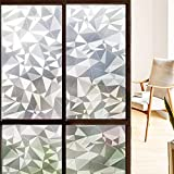 Decorative Privacy Window Film, 3D Reflective Window Decor/Privacy Protection/Heat Control/Anti UV, Stained Glass Static Cling for Home/Office, 35.5x78.7 inch Gravel