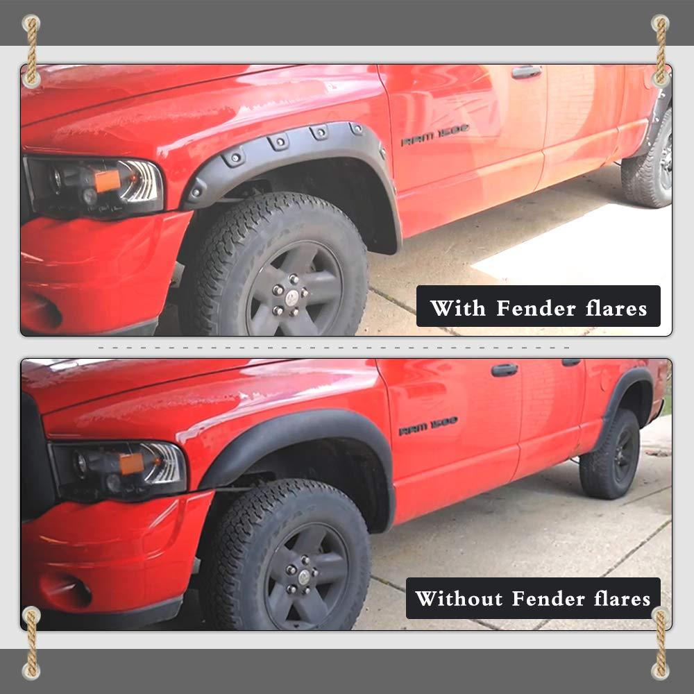 03-09 Dodge Ram 2500 3500 Textured Matte Black Finish Front Rear Fenders Pocket Rivet Style 4Pcs Fender Flares Kit for 02-08 Dodge Ram Fleetside 1500