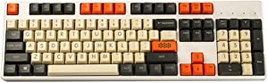 YMDK Carbon 61 87 104 Top Print Keyset Thick PBT OEM Profile Keycaps for MX Mechanical Keyboard (Only Keycap) (104)