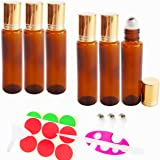 GreatforU 6pack 15ml Amber Empty Glass Roller Bottles for Makeup Essential Oil Perfume Blends, Portable Travel Size…