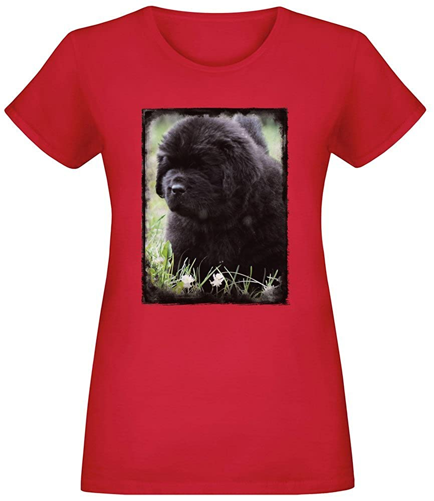 Cucciolo di Terranova - Newfoundland Puppy T-Shirt Top Short Sleeve Jersey for Women 100% Soft Cotton Custom Printed Womens Clothing