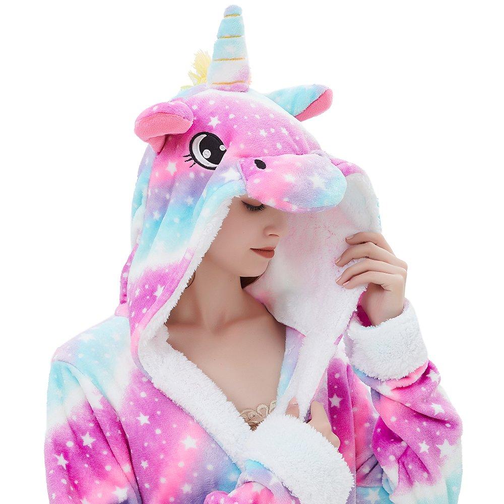 Amazon.com  ABENCA Women Adult Animal Cartoon Unicorn Bath Robe Flanel Fleece  Hooded Halloween Christmas Cosplay Robe  Clothing f0f2f3057
