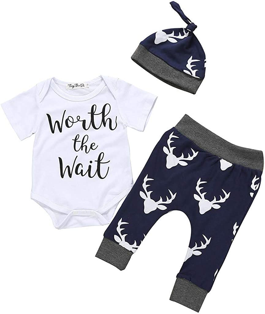 0-18Months,SO-buts Newborn Baby Boy Summer Clothes Casual Letter Print Romper Jumpsuit+Pants+Hat Set Outfits