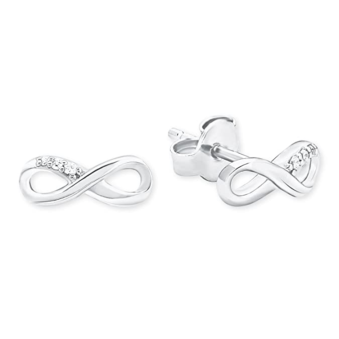 S. Oliver women's so pure infinity sign stud earrings 925silver rhodium-plated zirconia white 2017247 3fb8g
