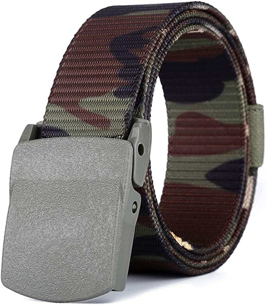 ZEVONDA Canvas Belts-Men Nylon Military Belt with Plastic Buckle