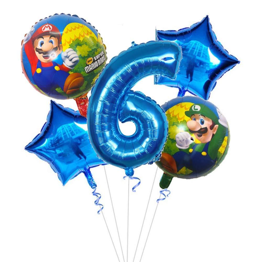 5 piezas Super Mario Globos 30 pulgadas Globos con números ...