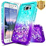 Galaxy S6 Active Case w/[Tempered Glass Screen Protector], NageBee Glitter Liquid Quicksand Waterfall Flowing Sparkle Bling Diamond Girls Cute Case for Samsung Galaxy S6 Active (G890) -Aqua/Purple