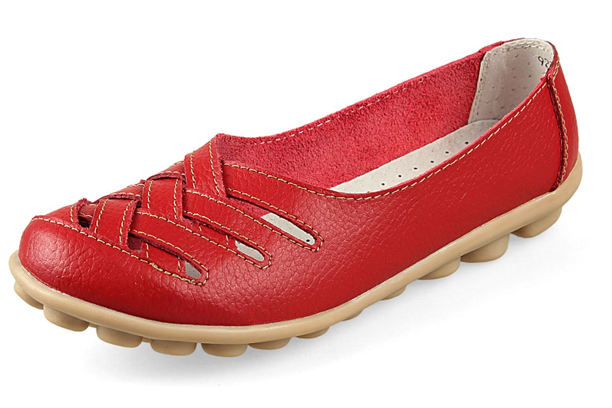 Kunsto Women's Leather Loafer Shoes Slip On US Size 7.5 Red Hollow Out