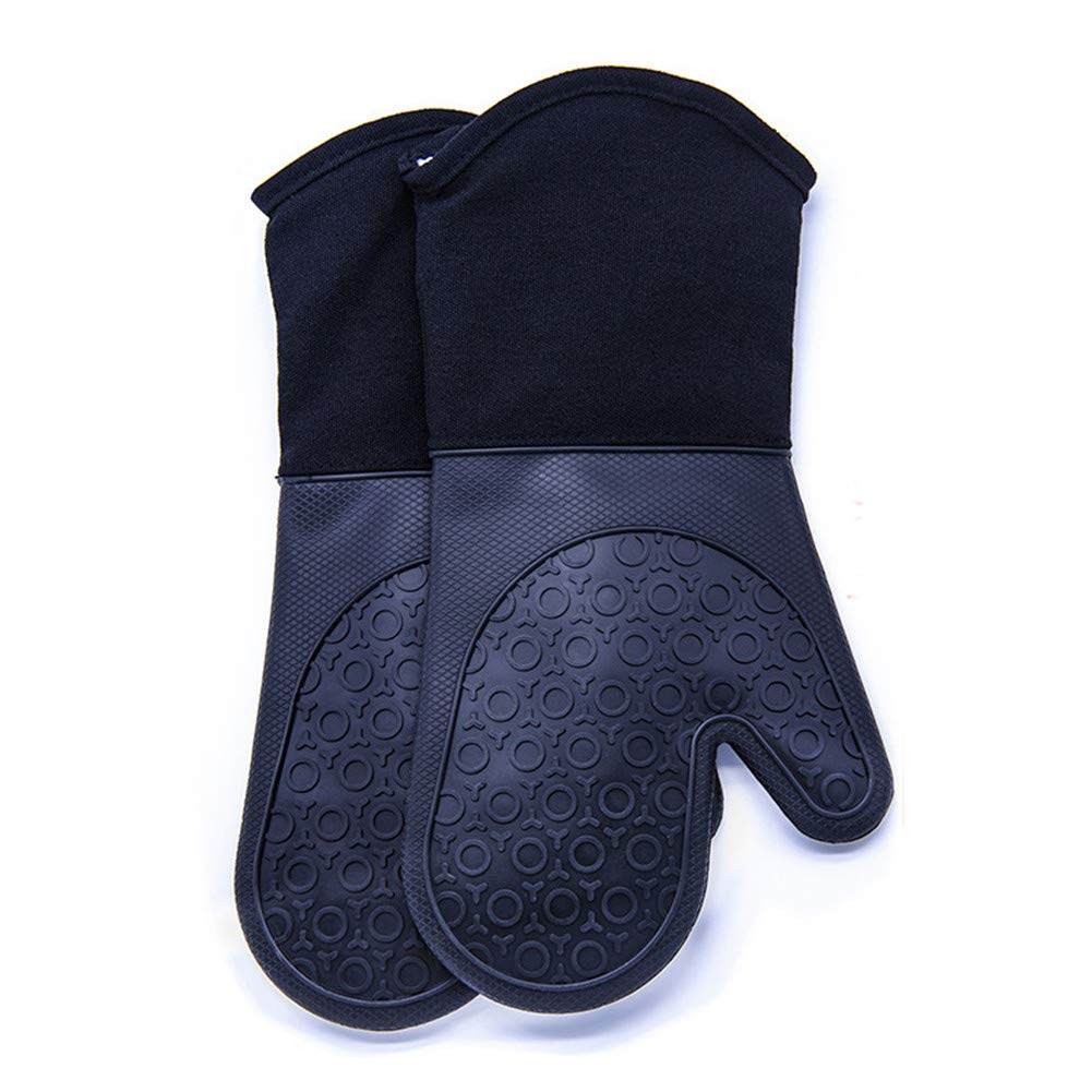 DoMii Professional Silicone Oven Mitts Extra Long Elbow Heat Resistant Quilted Gloves Industrial Grade 2-Pack 14.2 Y