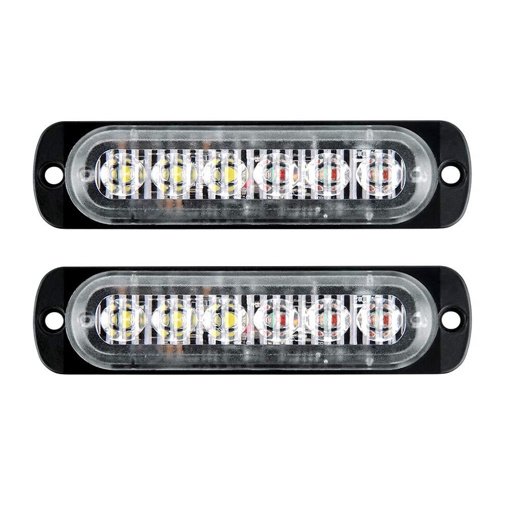 Sync Feature 6 LED Surface Mount Warning light Amber//White GPPOWER Car Truck Emergency Strobe Flash Light