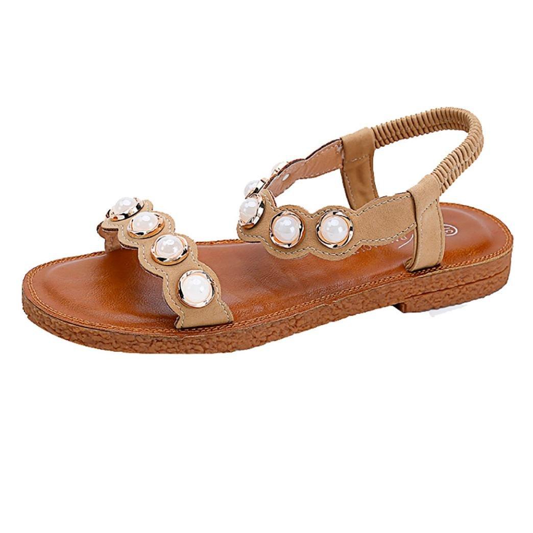 3d01afbde1ad Sandalen Damen Sommer LUCKYCAT Damen Flache Perle Mode Sandalen Schuhe  Damenschuhe SandalenCN 39 EU 38 Gelb - associate-degree.de