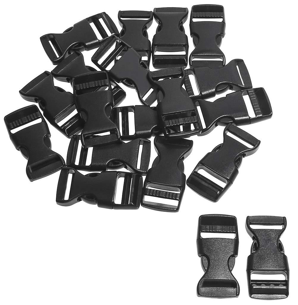 20PCS Penta Angel 5//8 Plastic Buckle Clips Flat Side Black Adjustable Buckle DIY Craft Webbing Contoured Side Quick Release Buckle for Luggage Straps Pet Collar Backpack Repairing