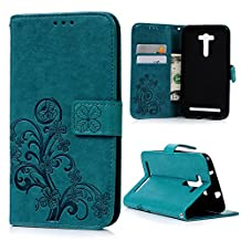 """Zenfone 2 Laser Case, Asus Zenfone 2 Laser Case (5.5"""") - Mavis's Diary Wallet Embossed Lucky Clovers PU Leather Snug Fit Ultra-thin Soft TPU Inner Cover Magnetic Clip & ID/Credit Card Holders - Blue"""