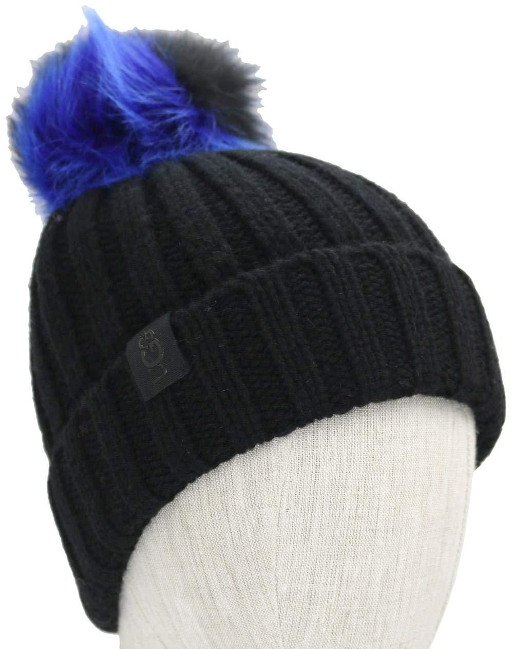 UGG Women's Multicolored Sheepskin Pom Knit Hat Black Multi One Size