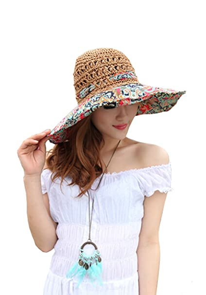 218113c70f6 Amazon.com   Outdoor Top Women s Beach Hats Foldable Straw Hat Uv Sun Hat  Large Brim Cap Totem Topee (Red)   Sports   Outdoors
