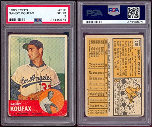 1963 Topps Regular (Baseball) Card# 210 Sandy Koufax psa of the Los Angeles Dodgers Good Condition by Topps