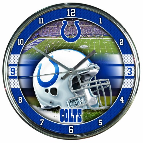 Nfl Football Team Chrome Wall Clock , Indianapolis Colts , (Indianapolis Colts Decor)