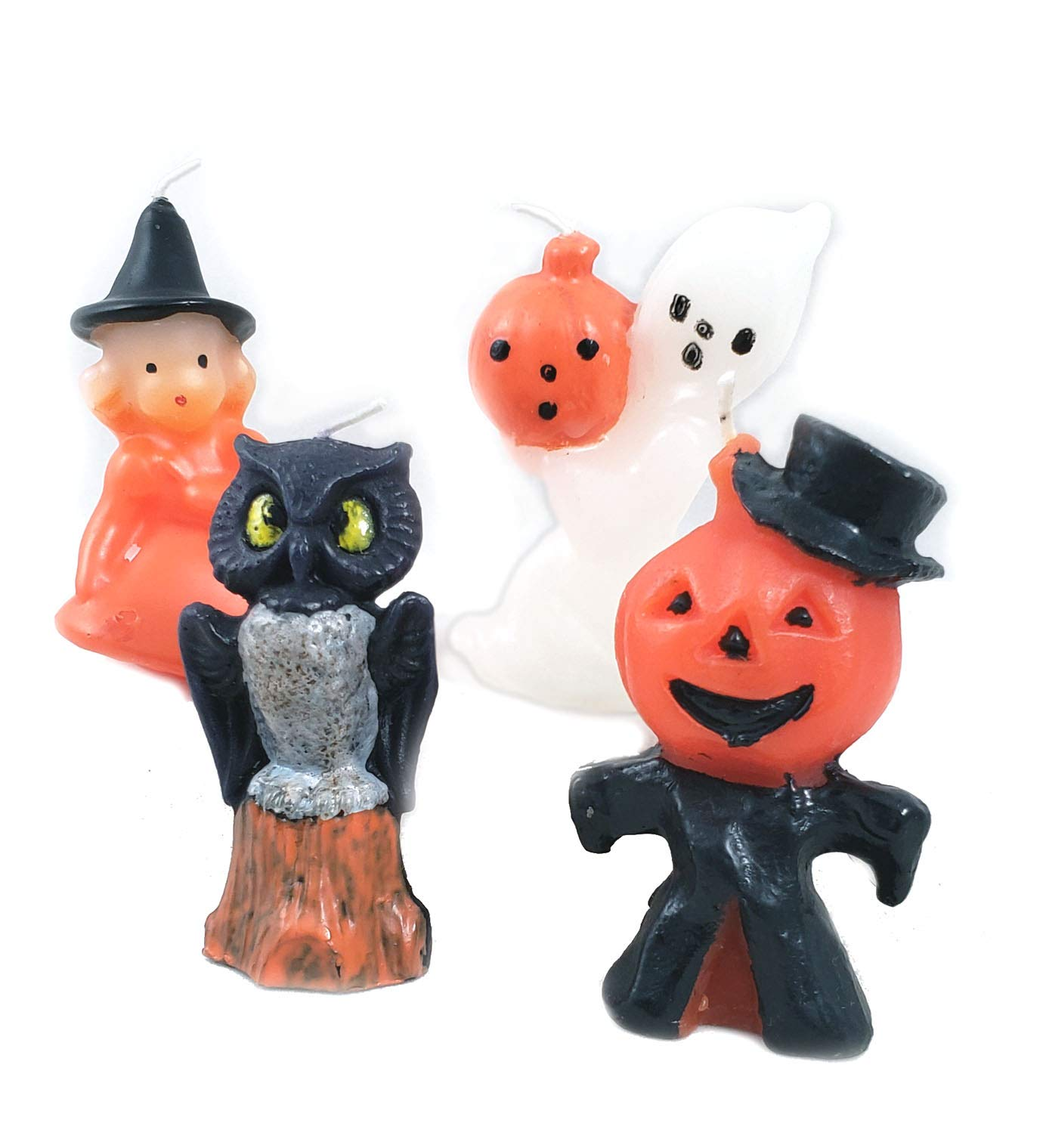 Cody Foster & Co Retro Halloween Candles Set of 4 Ghost Owl Witch Jack O Lantern