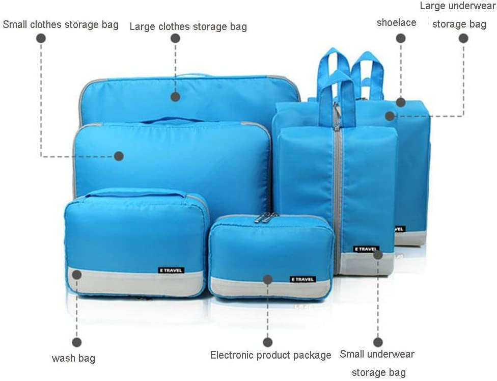 Awakingdemi 7pcs Travel Bag Set Large Capacity Folding Outdoor Luggage Handbags Blue