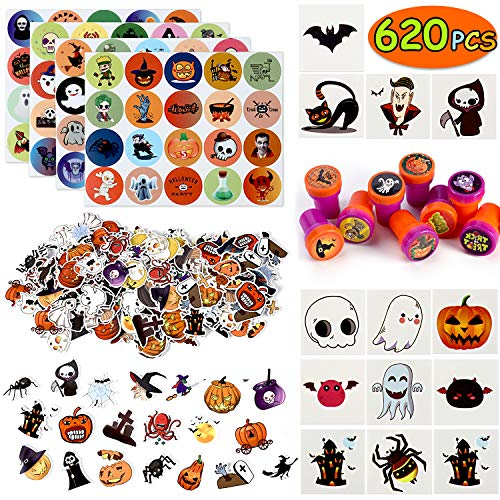 Over 600 Pcs Halloween Party Favors Toys Bulk, Including Halloween Colorful Sticker Sheets Stampers Foam Stickers temporary Tattoos for Kids