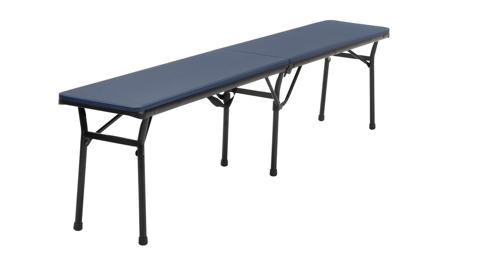 COSCO 6 ft. Indoor Outdoor Center Fold Tailgate Bench with Carrying Handle, Dark Blue Bench Top, Black Frame, 2-pack